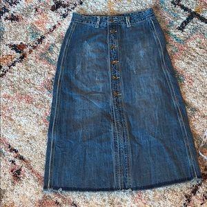 $bogo$ Women's midi denim skirt buttons size small